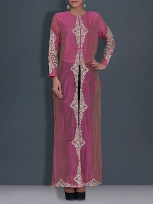 purple embroidered chanderi silk gown