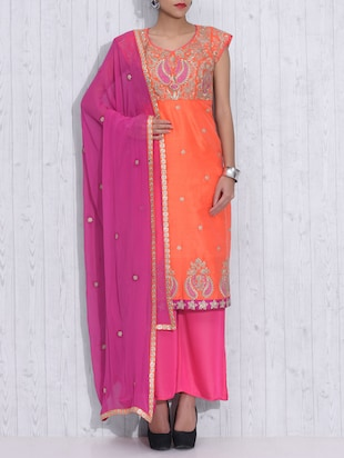 Orange and Pink embroidered Suit Set