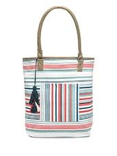 Multicolored Striped Canvas Tote Bag - By