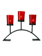 Brown Iron And Glass Tea Light Holders With Red Glass - By - 9592126