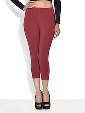Red Cotton And Spandex  Capri - By