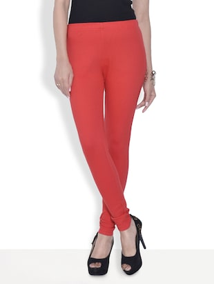 Red Cotton And Spandex  Jeggings