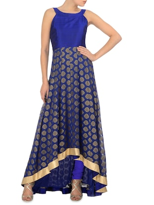 Royal blue asymmetrical stitched kurta set
