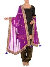Purple Embellished Georgette Dupatta - By