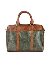 Green And Brown Faux Leather Laptop Bag - By
