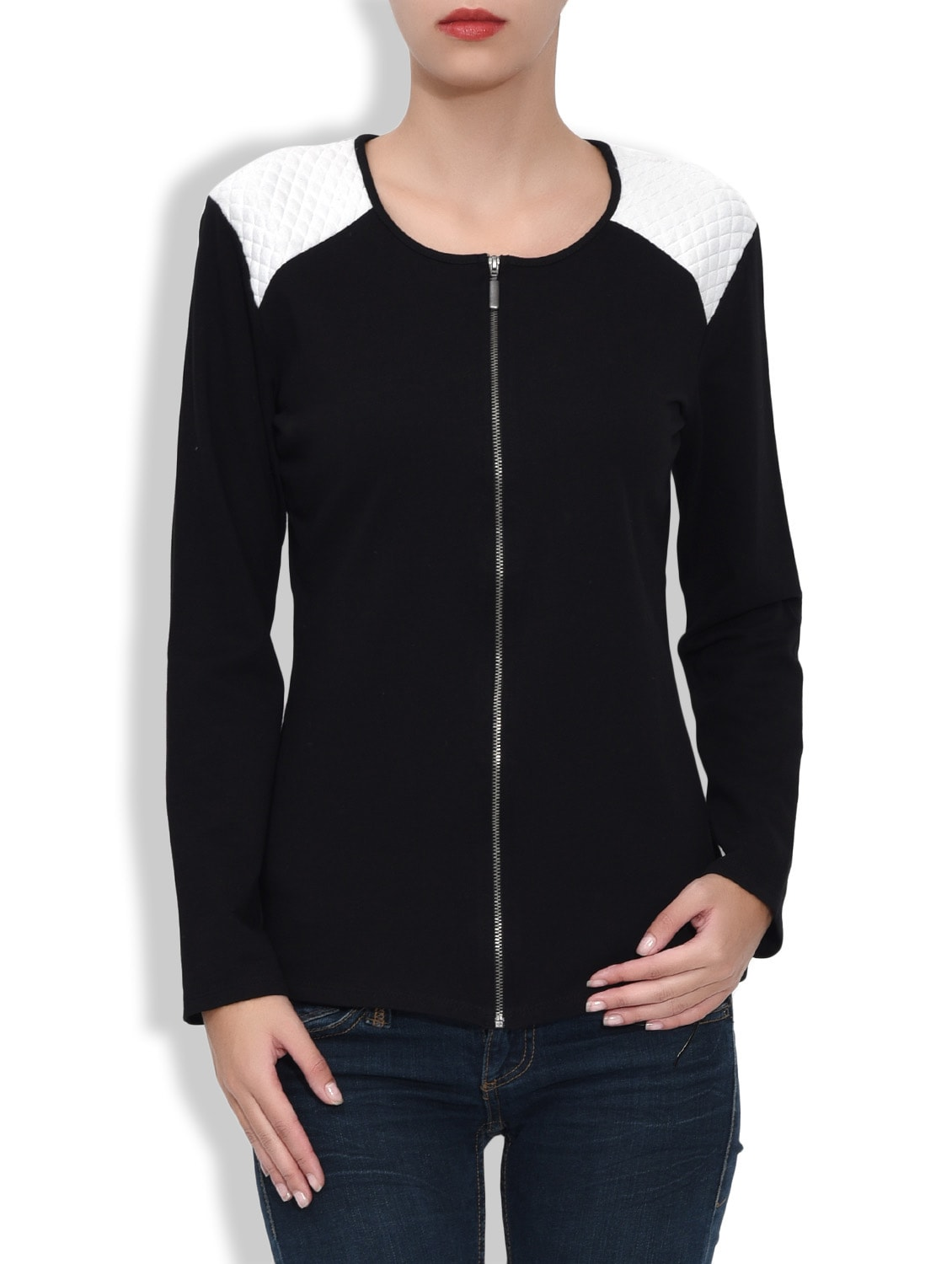 Black And White Fleece Jacket With Quilted Shoulders - By