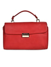 Solid Red Faux Leather Handbag - By