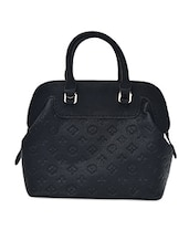 Solid Black Leatherette Textured Handbag - By