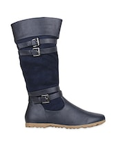 Blue And Black Faux Leather Boots - By