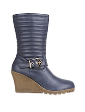 Solid Navy Blue Faux Leather Boots - By