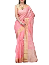 Pink Tussar Silk Zari Handwoven  Saree - By