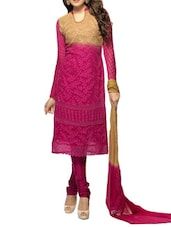 Beautiful Pink Embroidered Dress Material S - Khantil