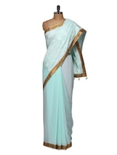 Sophisticated Blue Saree With Lovely White Embroidery - Purple Oyster