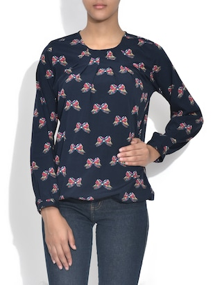 navy blue butterfly printed crepe top