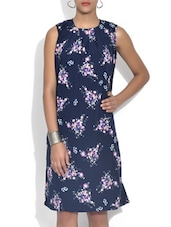 Navy Blue Floral Printed Crepe Dress - By