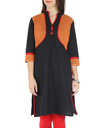 Black Cotton Net Kurti