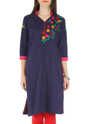 Navy Blue Rayon Embroidered Kurti