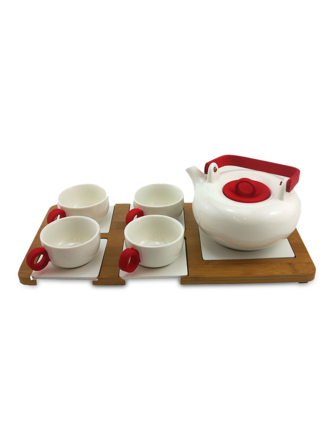 Set Of 4 White Ceramic Cups With A Kettle And Tray - By