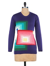 Blue Full-sleeved Cotton Pullover - By