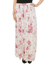White Georgette Floral Printed Maxi Skirt - By