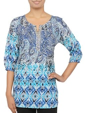 Blue Poly Crepe Printed Top - By