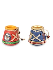 Assorted Terracotta Warli Hand Painted Pen Stands (Set Of 2) - By