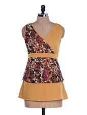 Ochre Yellow Tiered V-Neck Top - M Expose
