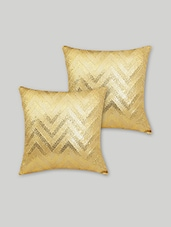 Set Of 2 Gold Chevron Cushion Covers - By