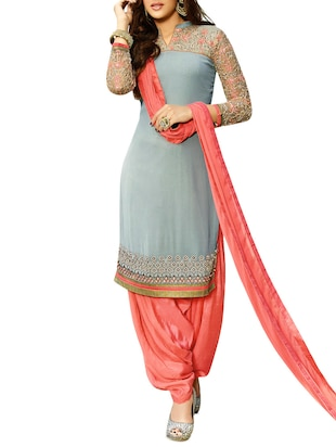 Embroidered Grey and Peach Georgette Unstitched Suit Set
