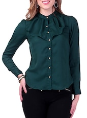 Dark Green Frill Yoke Shirt -  online shopping for Shirts