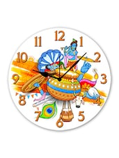 Multicolored Plastic Lord Krishna Printed Analogue Wall Clock - By