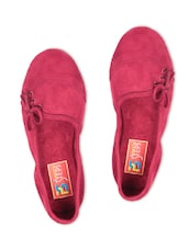 Red Faux Leather Loafers With Tie-Up Detail - By