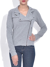 Solid Grey Cotton Long Sleeves Jacket - By
