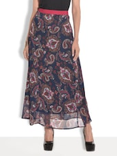 Navy Blue Printed Georgette And Crepe Long Skirt - By