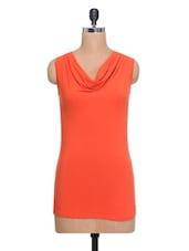 Orange Cowl-neck Sleeveless Top - By