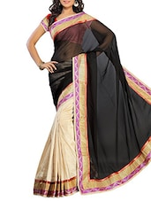 Black With Cream Georgette Saree With Blouse Piece - By