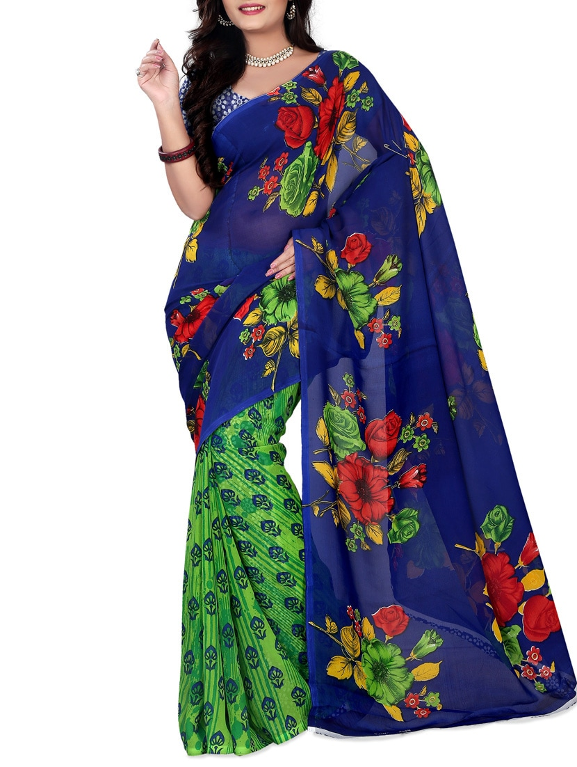 Blue & Green Faux Georgette  Printed Saree - By