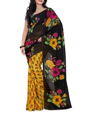 Black & Yellow Faux Georgette  Printed Saree - By
