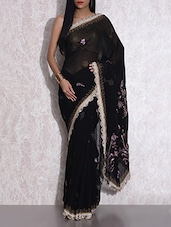 Black Embroidered Georgette Saree - By - 9604858