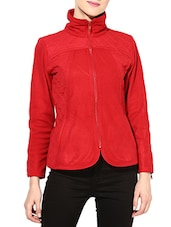 Red Polar Fleece Full-sleeved Jacket - By