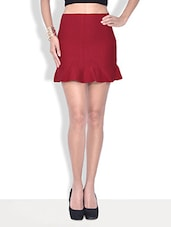 Solid Red Cotton Fleece Mini Skirt - By