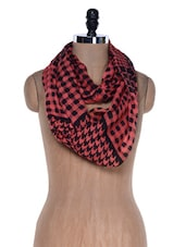 Black And Red Houndstooth Print Viscose Scarf - VR Designers