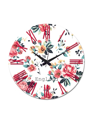 White Printed England Wall Clock