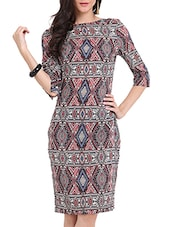 Aztec Print Midi Dress - Ridress