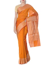 Orange Floral Jacquard Art Silk Saree - By