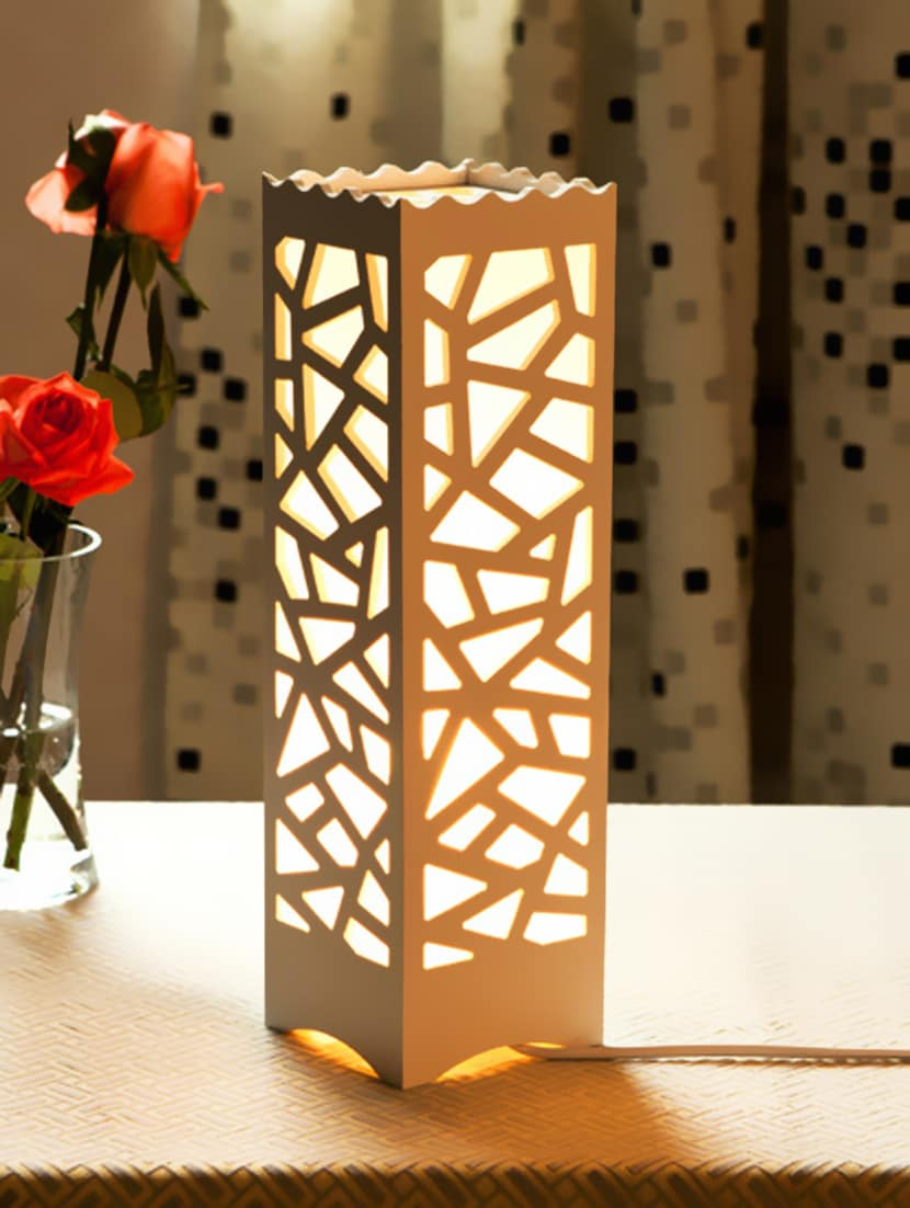 Buy white acrylic cutwork detail table lamp by printfry online explore this look hover over image to zoom geotapseo Image collections