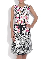 White Floral Printed Knee Length Dress - By