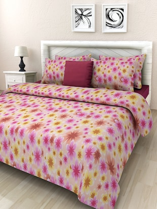 Pink floral printed cotton double bedsheet set