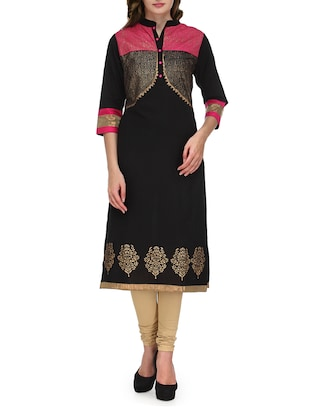 black jacket style printed cotton kurta