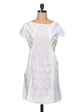 White Embroidered Cotton Kurti With Pin Tucks - Paislei